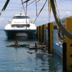 How to Travel to Bohol in the Philippines - by Boat or by Air: SuperCat ferry at Tagbilaran wharf, Bohol, Philippines