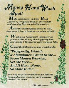 Money Hand Wash Spell……Printable Spell Pages. Extremely powerful good money spell, Pagan wish spells that work instantly, Wicca spells for money and prosperity Powerful Money Spells, Money Spells That Work, Spells That Actually Work, Hoodoo Spells, Magick Spells, Wiccan Spells Money, Healing Spells, Spells For Beginners, Luck Spells