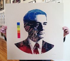 Edwin Land print by Mark Weaver. Commissioned limited edition set of prints of the inventor of Polaroid instant film for 'The Impossible Project'.