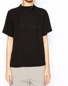 high-neck tee - into it.