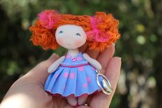 Miniature fabric red-haired dollhouse doll is perfect for dollhouse 1/12 scale Small cloth art dollhouse doll is fun gift for a girl 3 to 99 years!