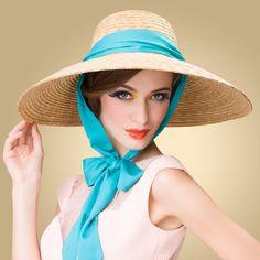 ba6cfff00da Ribbon bow wide brim straw hat for ladies UV protection fashion summer sun  hat