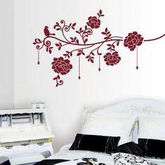 Wine Colour Roses - Velvet Jewellery Wall Stickers