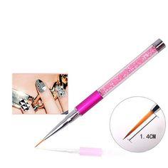 Nail Art Brush Pen Rhinestone Diamond Metal Acrylic Handle Carving Powder Gel Liquid Salon Nail Brush