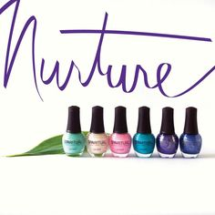 SpaRitual's first Slow Beauty Intention for 2016 is Nurture. Our Spring Collection summons the nurturer with a palette of inviting hues. Six colors celebrate our season of nurturing with a shady softness, an offbeat turquoise and opulent darks. Nurture is available now at SpaRitual.com. From left to right: Caring, Gentle, Tender, Affection, Supportive, and Loving. (http://www.sparitual.com/nail-lacquers/nail-lacquers-by-collection/2016-spring-collection-nurture.html)