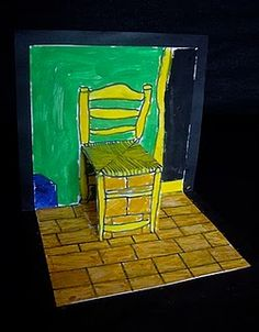 A lição da cadeira de Van Gog. Tutorial em: http://useyourcolouredpencils.blogspot.pt/2011/04/van-goghs-chair-pop-ups.html Van Gogh's Chair Pop Up Card Lesson