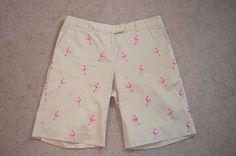 Lilly Pulitzer Size 8 Flamingo's Golfing Khaki Bermuda Shorts-Brand New #LillyPulitzer #BermudaWalking