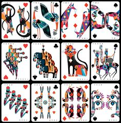 2♥ 2♣ 2♦ 2♠ 3♥ 3♣ 3♦ 3♠ 4♥ 4♣ 4♦ 4♠ Lesley Barnes. From 'An Ace in the Pack'  illustrated playing cards which tell the story of four warring clans - the Spades, the Hearts, the Diamonds and the Clubs....