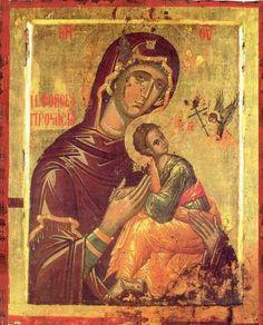 Kliknij aby obejrzeć w pełnym rozmiarze Byzantine Icons, Byzantine Art, Religious Icons, Religious Art, Mother And Child Painting, Art Roman, Holy Mary, Blessed Virgin Mary, Orthodox Icons