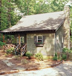 Cabin Charm    Compact and affordable, the Deer Run house plan offers efficient space and lots of fun. Architect William H. Phillips used both the vernacular structures of the rural South and more refined outbuildings of Colonial Williamsburg as inspiration for this delightful cabin style.
