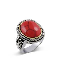 Look at this #zulilyfind! Coral Crystal & Two-Tone Oval Twist Ring by Regal Jewelry #zulilyfinds
