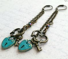 Heart Earrings, Padlock Earrings, Heart Shaped Padlock, Heart Jewelry, Padlock Jewelry, Dangle Earrings, Heart Dangle, Teal Heart Lock - pinned by pin4etsy.com
