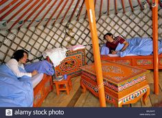 France, Lozere, Aumont Aubrac, inside an authentic yurt with small Stock Photo, Royalty Free Image: 23765111 - Alamy
