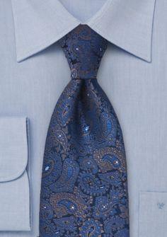 Alloverkrawatte Paisleys königsblau