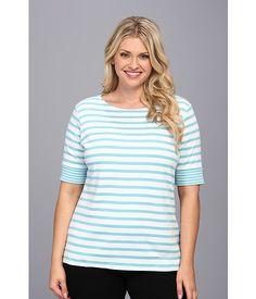 Pendleton Plus Size Roll Sleeve Stripe Rib Tee