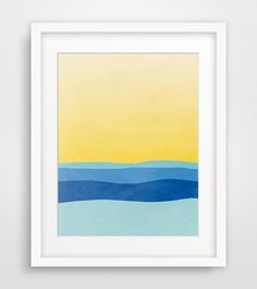 Abstract Art Print, Minimalist Poster, Abstract Landscape, Modern Art, Summer, Beach - Blue and Yellow