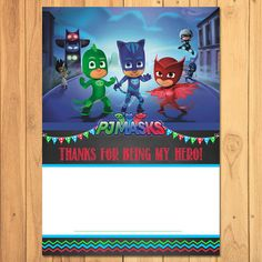 Pj Masks Thank You Card Chalkboard Instant By SometimesPie On Etsy