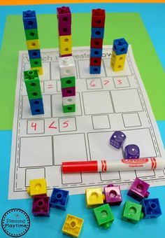 Kindergarten Math Centers - Comparing Numbers Activity for kids.