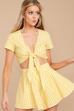 e9db07552563 Chic Yellow Gingham Two Piece Set - Trendy Two Piece Set - Set -  50.00 –