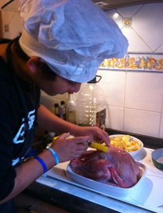 Tony A. Meoño preparing Thanksgiving dinner