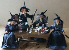 The Witches, Girls night in, Ooak handsculpted miniature dolls