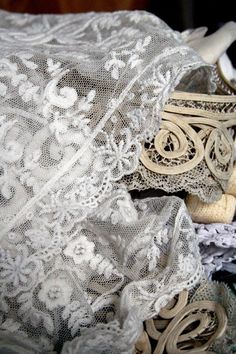 Use lace left from christening gown.