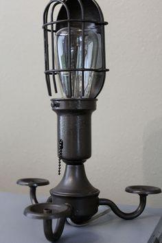 old chandelier repurposed into desk lamp