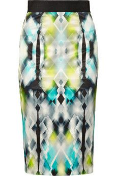 Milly Printed matte-satin pencil skirt   So much I like here. The electric/kaleidoscope ultra-modern quality (Bright), the acid yellow (Bright Season), the high energy diamonds that almost appear to be moving, the small amount of black to crisp without darkening (for Bright Winter, the lightest Winter), the symmetry (Winter). Too much for a Classic woman. The long/straight/flat, I could see on a Dramatic body, but the busy-ness seems more YangGamine.