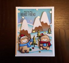 Made by Sol Ha. Stamp set used: Beast Friends by Mft.  This card was inspired by a card made by Keeway. I'm entering this in the Simon Says Stamp Wednesday Challenge (http://www.simonsaysstampblog.com/wednesdaychallenge/simon-says-thinking-of-you-3/) and the Simon Says Stamp Monday Challenge (http://www.simonsaysstampblog.com/mondaychallenge/?p=6851).