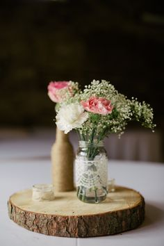 Lace Jar Flowers Gypsophila Rose Log Centrepiece Quirky Vintage Village Fete Home Made Wedding http://www.stottandatkinson.com/