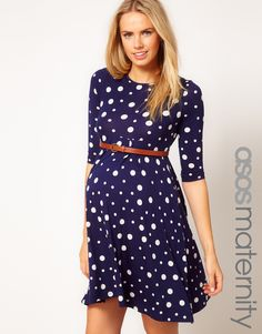 ASOS Maternity Spot Skater Dress With Belt. Not sure what it is with me and blue maternity dresses (I have one, I have one non-maternity dress that I still wear), but I have been obsessing over this one. Polka Dot Maternity Dresses, Cute Maternity Outfits, Asos Maternity, Pregnancy Outfits, Maternity Fashion, Pregnancy Clothes, Maternity Clothing, Maternity Styles, Pregnancy Fashion