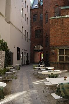 Royal Smushi Cafe Copenhagen...If I meandered into this sunny little corner, I wouldn't mind a bit.....