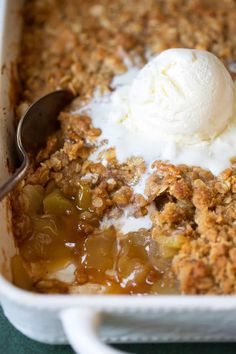 The BEST apple crisp! I've been using this recipe for years and it's always a hit! It's packed with apples and topped with a sweet, buttery oat crumble.