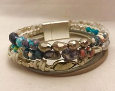 Grey Leather 5 Row Magnetic Beaded Bracelet  by WrapitupBoutique