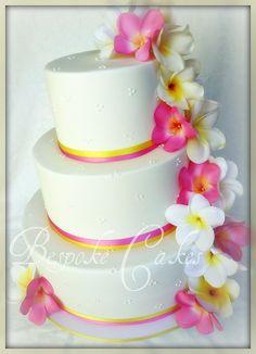 Beach wedding frangipani cake