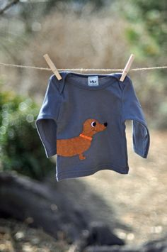 Dog Grey T-shirt - American Apparel 100% Cotton Baby or Toddler Long Sleeve Shirt - Felt Dachshund Puppy Applique