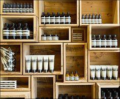 Aesop@ Wood Box Wall Merchandising and Store Branding