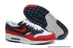 Mens 308866-405 Nike Air Max 1 Midnight Navy Action Red White Neptune Blue Sale