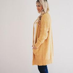 Ultra soft knitted open front cardigan with long sleeves, pockets, &…