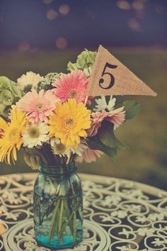 Burlap Table Numbers - table number pennants