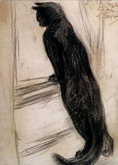 Маруська -  Marus'ka, the family cat   black chalk drawing, 1936   Леонид Пастернак - Leonid Pasternak