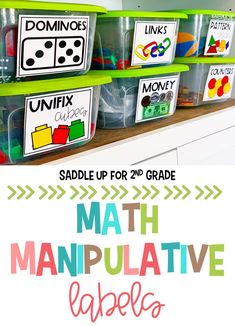 Math Manipulative Labels can help make all of your math supplies and manipulatives easily assessable to your students. These colorful math manipulative storage labels come with 60 different options and in 2 sizes! #mathlabels