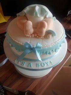 Blue baby bum cake