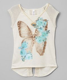 Look at this Beautees Oatmeal Butterfly Lace-Trim Tee & Necklace on today! Look at this Beautees Oatmeal Butterfly Lace-Trim Tee & Necklace on today! Kids Nightwear, Diy Clothes, Clothes For Women, Girl Fashion, Fashion Outfits, Summer Shirts, Lace Trim, Look, Kids Outfits