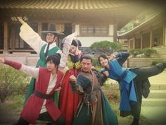 The caption is hilarious. [We are the apostles of justice protecting 100 Years Inn! Five Siblings of Gu Family Book! In the name of justice, Jo Gwan Woong, you will never be forgiven! Gu Family Books, Superman, Fox Spirit, Choi Jin Hyuk, Foto Fashion, Lee Seung Gi, Japanese Drama, Korean Entertainment, Boys Over Flowers