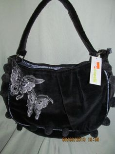 Nwt CAPELLI navy blue/PURPLE velour applique butterfly purse LOT OF 7! $200 retl