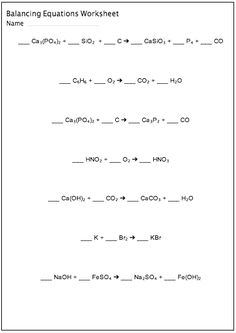 Equations Worksheet, Chemistry Balancing Equations, Chemical Reactions ...