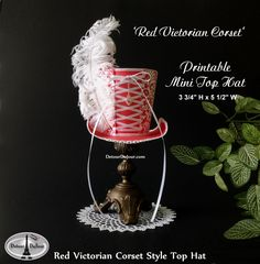 Printable Alice in Wonderland Mini Top Hat, Red, Victorian Mini Top Hat Mad Hatter Hat, Red Hat Society Hat, Marie Antoinette, Mini Top Hat by DetourDuJour on Etsy