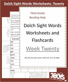 Dolch Sight Words Worksheets: Week 20 - Dolch Sight Words Worksheets Included:      Flash Cards     Handwriting Practice     Coloring Page     Matching     Instructions for use  List of Dolch Sight Words Included:  fall, far, full, got, grow, hold, hot, hurt, if, keep  Dolch Sight Words Level: Third Grade Leve