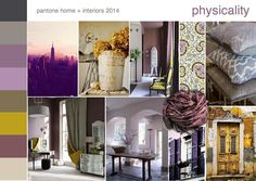 """Pantone home and interiors 2014 color theme forecast """"physicality"""" Interior Design Inspiration, Color Inspiration, Inspiration Boards, Colour Schemes, Color Trends, Mood Board Interior, Purple Palette, Global Design, Pantone Color"""